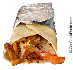 isolated kebab, kebap of chicken on withe background