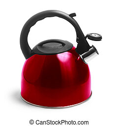 isolated kettle red on white background with clipping path