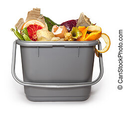 Isolated Kitchen composting bin with all manner of compostable things