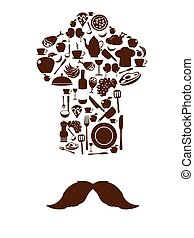 Kitchen tool icons on chef hat with mustache