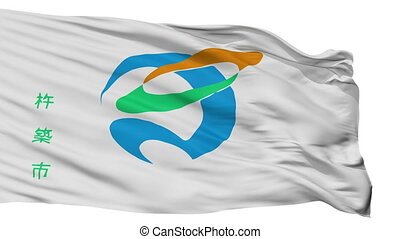 Isolated Kitsuki city flag, prefecture Oita, Japan - Kitsuki...