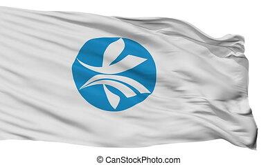 Isolated Kizugawa city flag, prefecture Kyoto, Japan - ...