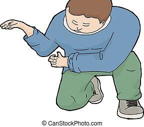 Isolated Kneeling Man - Cartoon of kneeling European man...