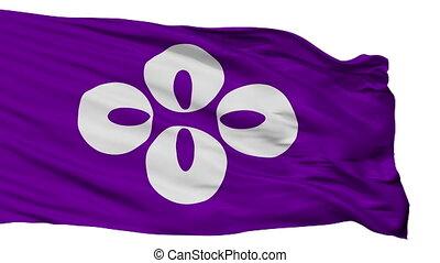 Isolated Koshu city flag, prefecture Yamanashi, Japan -...