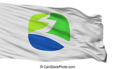 Isolated Kuki city flag, prefecture Saitama, Japan - Kuki...