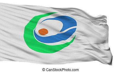 Isolated Kunisaki city flag, prefecture Oita, Japan -...