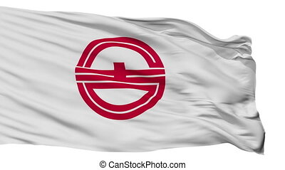 Isolated Kurayoshi city flag, prefecture Tottori, Japan -...