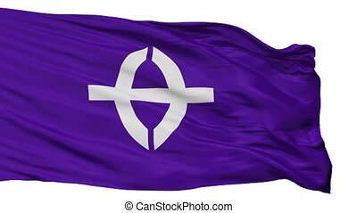 Isolated Kusatsu city flag, prefecture Shiga, Japan -...