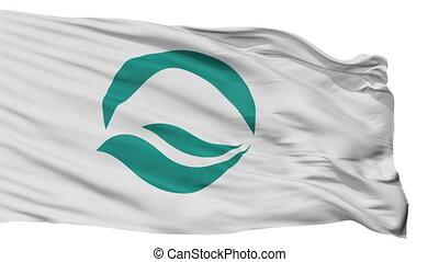 Isolated Kuwana city flag, prefecture Mie, Japan - Kuwana...