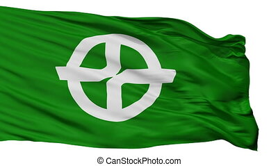 Isolated Kyotanabe city flag, prefecture Kyoto, Japan - ...