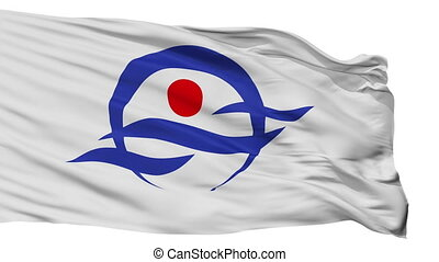 Isolated Kyotango city flag, prefecture Kyoto, Japan - ...