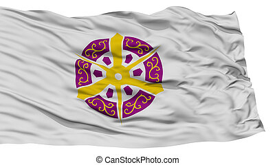 Isolated Kyoto Flag, Capital of Japan Prefecture, Waving on White Background