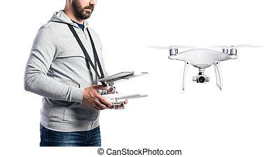 isolated., lövés, drone., repülés, unrecognizable, műterem, ember