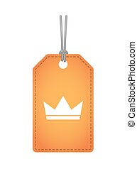 Isolated label icon with a crown