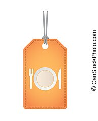 Isolated label with  a dish, knife and a fork icon
