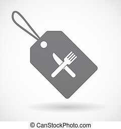 Isolated label with a knife and a fork