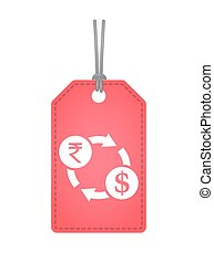 Isolated label with  a rupee and dollar exchange sign