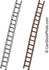 Aluminum and wooden ladders on isolated white background