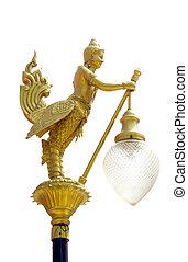 isolated., lamp paal, straat, straat, thai, kunst, lichte pool