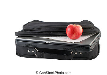 isolated laptod and case - laptop computer, papers and...