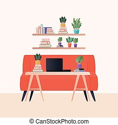 Isolated laptop on table in front orange couch vector design