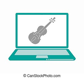 Isolated laptop with a violin