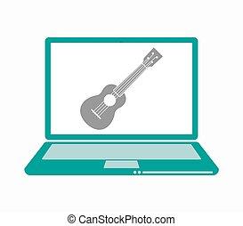 Isolated laptop with an ukulele