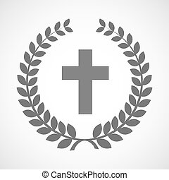 Isolated laurel wreath icon with a christian cross