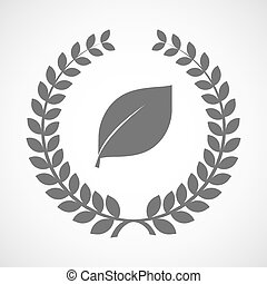 Isolated laurel wreath icon with a leaf