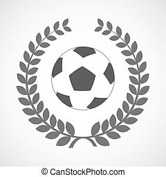 Isolated laurel wreath icon with  a soccer ball