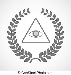 Isolated laurel wreath icon with an all seeing eye - ...