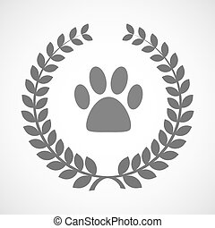 Isolated laurel wreath icon with an animal footprint