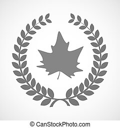 Isolated laurel wreath icon with an autumn leaf tree