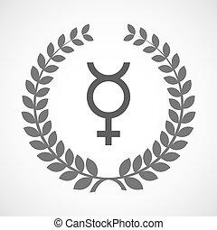 Isolated laurel wreath icon with the mercury planet symbol -...