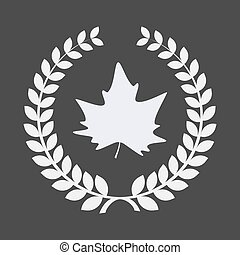 Isolated laurel wreath with an autumn leaf tree