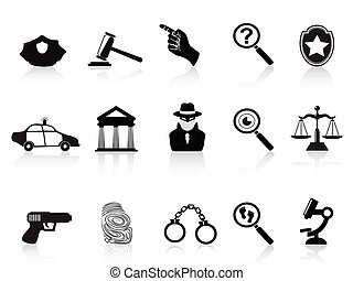law and crime icons set