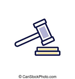 Isolated law hammer fill vector design