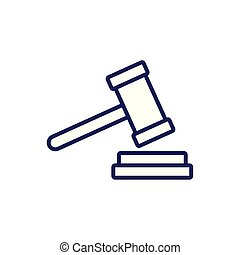 Isolated law hammer line vector design