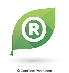 Illustration of an isolated green leaf ecological icon with the registered trademark symbol