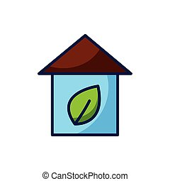 Isolated leaf inside house icon vector design