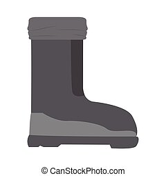 Isolated leather shoes. Winter clothes. Vector illustration...