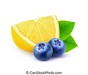 Isolated lemon and blueberries - Isolated fruits. Slice of...