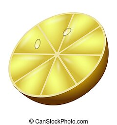Isolated lemon cut on a white background - Vector