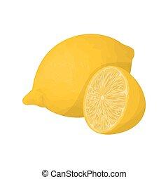 Isolated lemon fruit. - Isolated lemon fruit on white ...