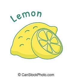 Isolated lemon icon - Isolated icon of raw lemon with name
