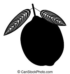 Isolated lemon silhouette - Isolated silhouette of a lemon, ...