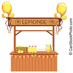 Isolated lemonade stall on white background illustration
