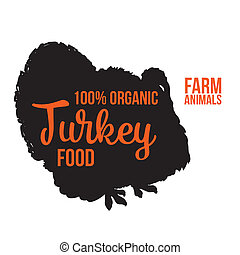 Isolated lettering farm turkey on a white background