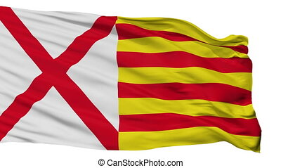 Isolated LHospitalet Llobregat city flag, Spain -...