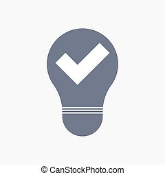 Isolated light bulb icon with a check mark
